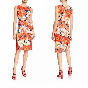 T Tahari Orange Floral Draped Fit & Flare Dress